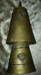 Antique Vintage Large 6-1/2 Brass Camel Cow Temple Bells Set Of 2 Great Patina