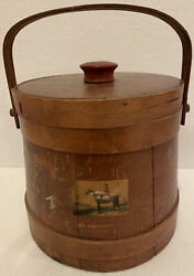 """Antique Primitive Wood Firkin Sugar Bucket Small with Lid 8"""" x 8 1 2quot; Vintage $39.95"""