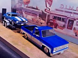124 Scale Diecast 3 Piece Set1985 Chevy C-10 Pickup,1968 Camaro And Car Trailer
