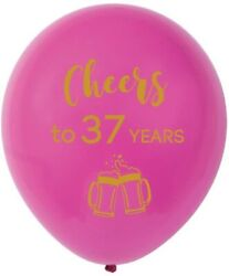 Pink Cheers To 37 Years Latex Balloons, 12inch 16pcs 37th Birthday Decorations