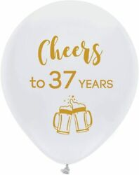 White Cheers To 37 Years Latex Balloons, 12inch 16pcs 37th Birthday Decoration