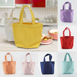 Small Shopping Bags Solid Color Casual Tote Canvas Bags Mini Handbag For Women $4.39