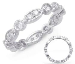 .80ct Diamond 14kt White Gold Round And Marquise Shape Eternity Anniversary Ring