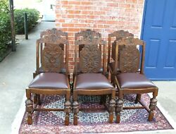 Set Of 6 English Antique Oak Art Deco New Upholstered Chairs