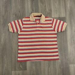Vintage 80's Men's Multicolor Striped Beach Polo Shirt Size XL