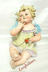 Vintage Conta Boehme Bisque Porcelain Piano Baby Figurine Girl With Fruit 14.5
