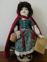 Franklin Heirloom 12andrdquo Red Riding Hood Porcelain Doll With Stand Red Velvet Cape