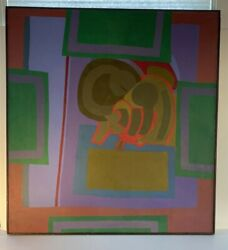 Vtg Mcm Oil Or Acrylic Painting By John Almquist Art Signed Abstract Growth Box