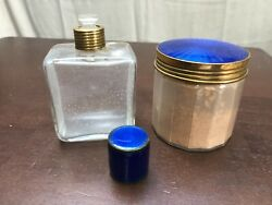 Antique 2 Piece Set Blue Enameled Guilloche Top Perfume And Powder Jar