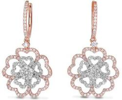 Large 1.46ct Diamond 14k White And Rose Gold Double Flower Huggie Hanging Earrings