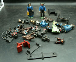 Large Lot Amish Cast Iron Figures And Cart Drivers Riders Spare Parts P3