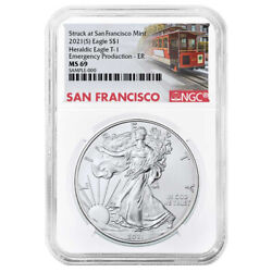 2021 S 1 American Silver Eagle Ngc Ms69 Emergency Production Trolley Er Label