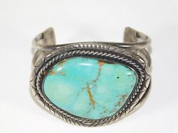 Antique Navajo Native American Indian Silver Turquoise Cuff Bracelet Vtg Jewelry