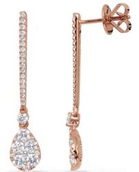 1.22ct Diamond 14kt Rose Gold 3d Pave Invisible Tear Drop Bar Hanging Earrings