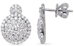 Large 1.73ct Diamond 14kt White Gold Cluster Round Classic Halo Hanging Earrings