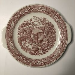 Royal Ironstone Memory Lane Red Cake Plate / Platter 11 3/8 With Handles