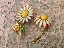 2 Vtg Weiss Daisy Pins Enamel Paint Lady Bug Signed