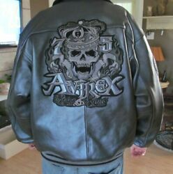 Avirex Rides And Rims Gray Vintage Leather Jacket L Rare