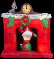 Airblown Santa Head Popping Down At Fireplace Scene 5 Ft.w X 5.6 Ft. H Christmas