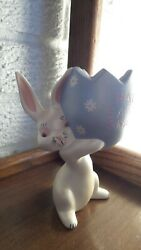 Vintage 5 Tall Hand-painted Ceramic Easter Bunny W/ Happy Easter Grandma