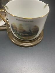 Thomas Kincade Moonlight Church Cup And Saucer Set W/ Stand Painter Of Light