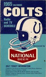 Baltimore Colts Radio And T.v. Schedule 1965
