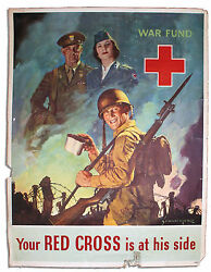 1945 American Red Cross Poster By Jes Schlaikjer