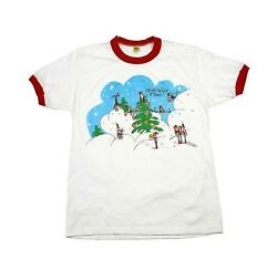 Vintage 1970s 70s Christmas Elf Snow Scene Shirt Velva Sheen Made In Usa Mens Xs