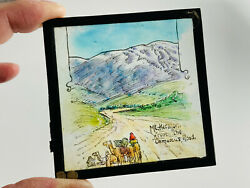 Vintage Hand Painted Glass Slide Mount Hermon From Damascus Road