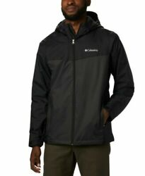 New Men's Black Columbia Weather Drain Hooded Sherpa-lined Rain Jacket In Large