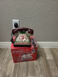 Coca Cola Stained Glass Style Desk Phone And Lamp - Promo Vintage 2001
