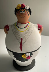 """Coin Bank Collect 9"""" Tall, South American Woman Vtg Hand Painted Unglazed Clay"""