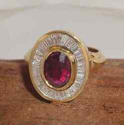 2.45ct Ruby And Diamond Solid 14k Y Gold Handmade Ring Fine Jewelry