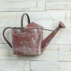 Primitive Rustic Red Watering Can Wall Hanging Planter Vase Basket Country Decor