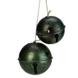 2ct Green And Brown Jingle Bell Drop Christmas Ornaments 13.25