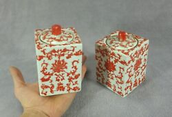 Old Pair Of Porcelain Teapots Guangxu Qing 4 Characters Mark And Period Coral Red