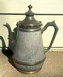 Old Antique Gray Graniteware And Scalloped Pewter Trim - Teapot/coffee Pot