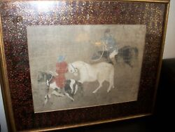 Antique Chinese Lithograph/painting Men On Horses Framed-signed From China C1900