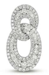 .99ct Diamond 14kt White Gold 3d Classic 3 Row Oval Love Knot Floating Pendant