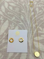 Gorjana Gold Jagger Circle Necklace And Round Cutout Earrings Beautiful New