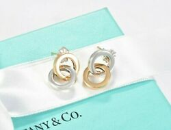 And Co 18k Yellow Gold Silver Interlocking Circles Earrings And Pouch Rare