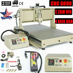 Usb 4 Axis 6090z Cnc Router Engraver Wood Drilling/milling Machine 2.2kw+ Remote