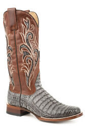 Stetson Brown 13in Womens Grey Caiman Clarisa Cowboy Boots 9.5