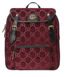 Nwt Authentic Gg Marmont Red Backpack Gg Velvet Small Travel Luggage Bag