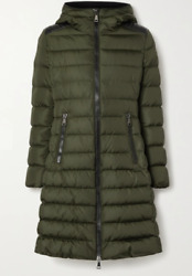 Moncler Talev Hooded Faux Leather-trimmed Quilted Jacket In Army Green   Size 1