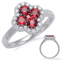 .93ct Diamond And Aaa Ruby 14kt White Gold 3d Round 4 Leaf Clover Flower Love Ring