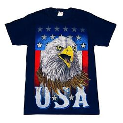 Vintage T Shirt USA Spell Out Mens Small Bald Eagle American Flag Big Graphic
