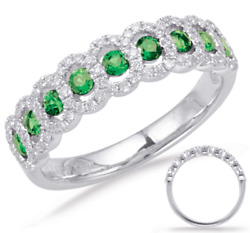 Estate .63ct Diamond And Aaa Emerald 14kt White Gold Classic Round And Oval Fun Ring