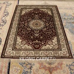 Yilong 4'x6' Red Hand Knotted Silk Carpet Indoor Home Decor Floral Rugs 683b