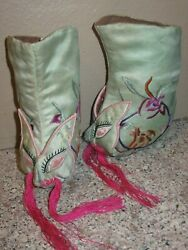 Vintage Chinese Foot Bind Bound Feet Lotus Shoes Silk Handmade Embroidery Dragon